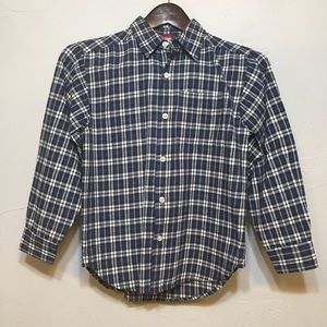 OLD NAVY BLUE WHITE PLAID BUTTON UP SHIRT